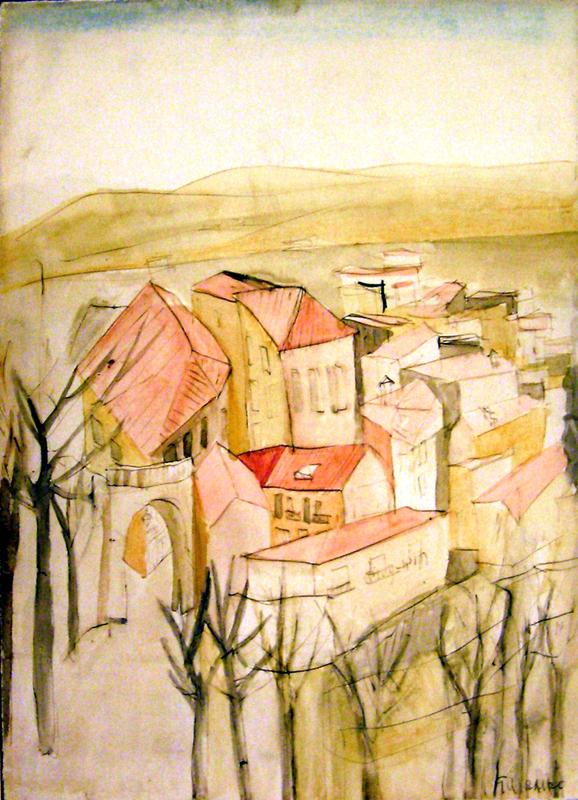 Ezio GRIBAUDO - Drawing-Watercolor - Paesaggio