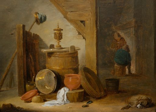 David II TENIERS - Painting - A tavern interior with a dog and kitchen utensils
