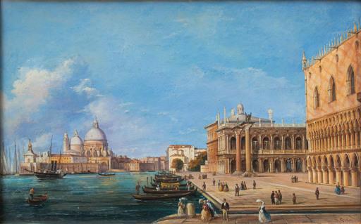 Giovanni GRUBACS - Gemälde - View with the Punta della Dogana
