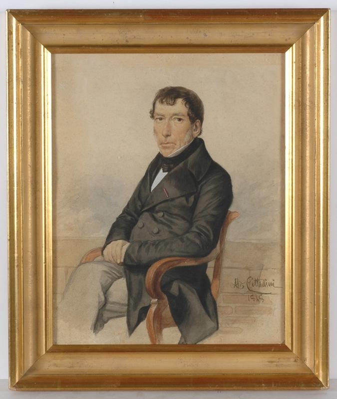 """Alessandro CITTADINI - Drawing-Watercolor - """"Male Portrait"""", 1848, Watercolor"""