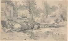 "Hugo DARNAUT - Drawing-Watercolor - Hugo Darnaut (1851-1937) ""Motif from Bistritz"" drawing"