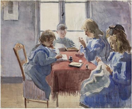 Raoul DUFY - Disegno Acquarello - Frères et soeurs du peintre