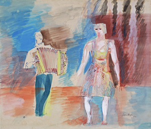 Jean DUFY - Drawing-Watercolor - L'accordéoniste