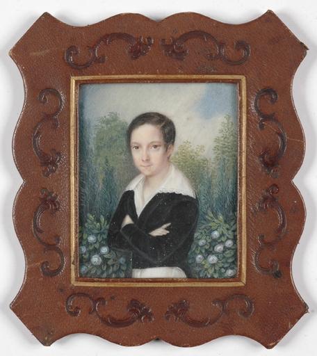 "Albert THEER - Miniatura - ""Portrait of a Noble Boy"", 1840s"