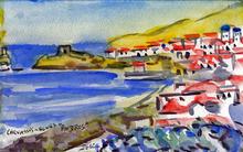 Jean-Pierre CHEVASSUS-AGNES - Drawing-Watercolor - la capitale d' ANDROS  CYCLADES GRECE