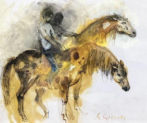 Jean LE GUENNEC - Drawing-Watercolor - Les cavaliers