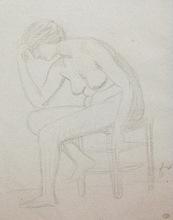Félix VALLOTTON - Drawing-Watercolor - Modèle féminin sur un tabouret