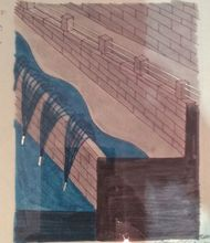 Vito ACCONCI - Drawing-Watercolor - from the Serie Wien Donaukanal, Railing and Lights