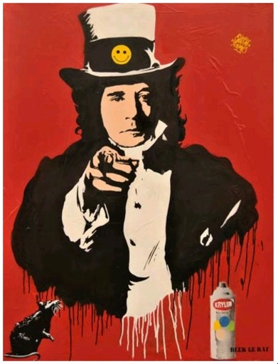 BLEK LE RAT - Painting - I want you for peace and paint