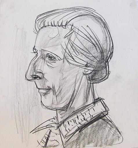Erich HARTMANN - Disegno Acquarello - #19833: Frauenkopf.