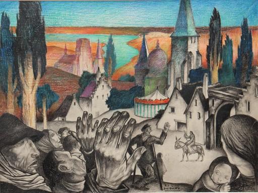 """Raymond DIERICKX - Disegno Acquarello - """"L'ENTREE DU CHRIST EN BELGIQUE"""""""