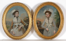 """Francis ALLEYNE - Painting - """"Portraits of two sisters"""" oil portraits, late 18th century"""