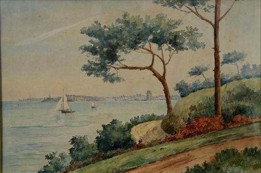 """Victor DELAUNAY - Drawing-Watercolor - GRANDE AQUARELLE """"LA VICONTE A DINARD"""""""