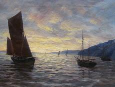 Max JENSEN - Painting - Sonnenuntergang auf der Elbe