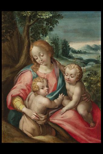 Francesco CAVAZZONI - Painting - Madonna col Bambino e San Giovannino