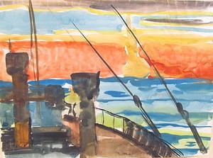 Paul MECHLEN - Drawing-Watercolor - Schiffsblick in den Sonnenuntergang.