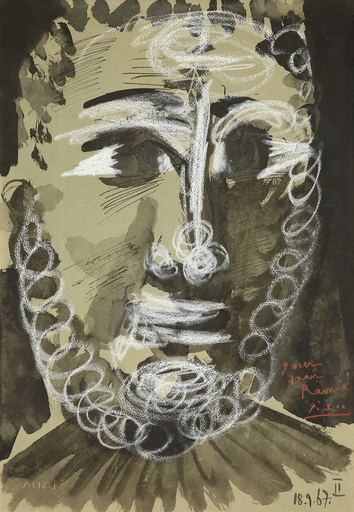 巴勃罗•毕加索 - 水彩作品 - Tête de jeune homme barbu