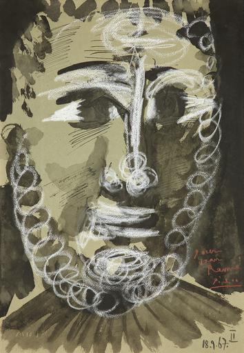 Pablo PICASSO - Disegno Acquarello - Tête de jeune homme barbu