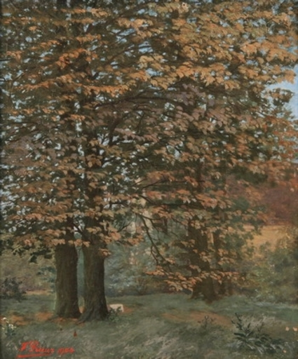 François Léon PRIEUR-BARDIN - Pintura - House Behind the Trees