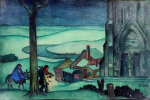 "Raymond DIERICKX - Drawing-Watercolor - ""SAINTE FAMILLE A LA LANTERNE"""
