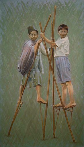 Regine FREISE - Pintura - « Batak Karo, les échasses »