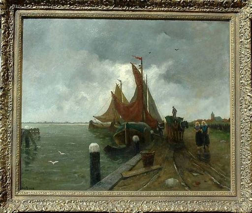 Robert Ives BROWNE - Painting - Marine unloading ship Netherland