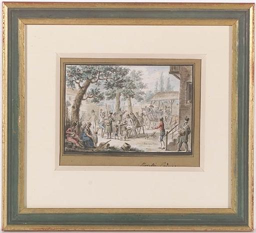 "Francesco NOVELLI - Dessin-Aquarelle - ""Soldiers in Courtyard of a Tavern"" , ca 1820"