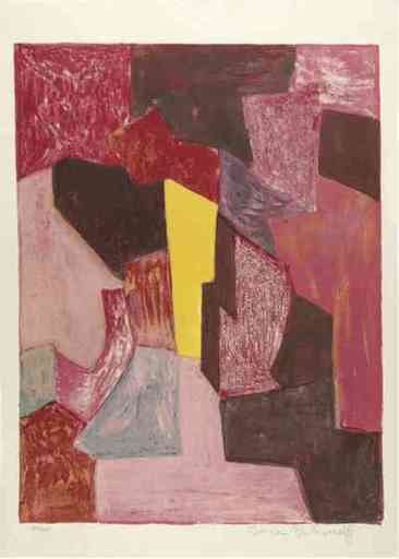 Serge POLIAKOFF - Druckgrafik-Multiple - Composition Rouge Carmin et Jaune n°19