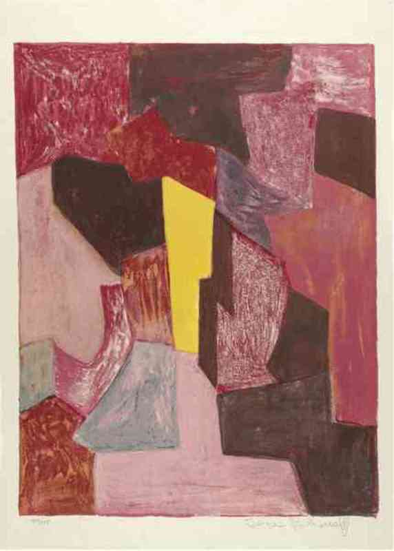 Serge POLIAKOFF - Print-Multiple - Composition Rouge Carmin et Jaune n°19