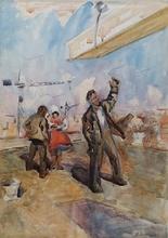 "Valentin Aleksandroh LISENKOV - Dessin-Aquarelle - ""Construction Workers"", Watercolor, 1958"