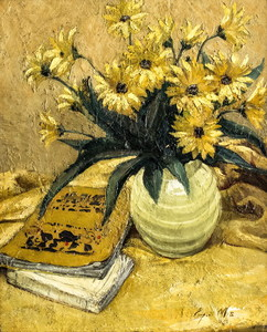 Eugène NYS - Gemälde - Still life with flowers and books
