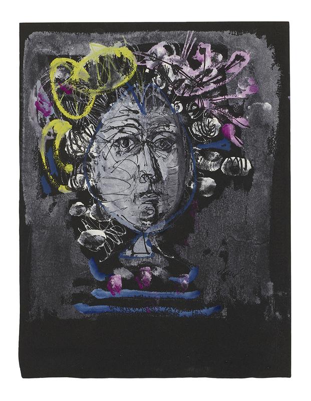 """Antoni CLAVÉ - Drawing-Watercolor - Estudio de peluquería para """"Las bodas de Fígaro"""""""