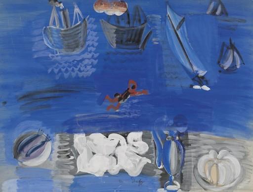 Raoul DUFY - Zeichnung Aquarell - Nature Morte et Bateaux
