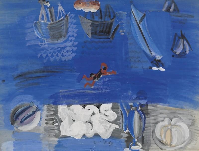 Raoul DUFY - Dibujo Acuarela - Nature Morte et Bateaux