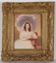 "Emanuel Thomas PETER - Miniatur - ""Portrait of a Young Lady"", 1840s, Watercolor"
