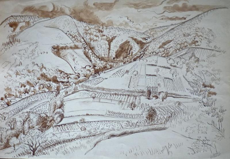 Louis DUSSOUR - Dibujo Acuarela - Un coin d'Auvergne