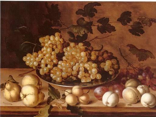 Balthasar VAN DER AST - Painting - Nature morte, Pêches, Prunes, Poires et Raisins