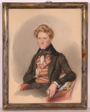 "Karl VON SAAR - Miniature - ""Portrait of a Young Gentleman"", 1835, Watercolor"