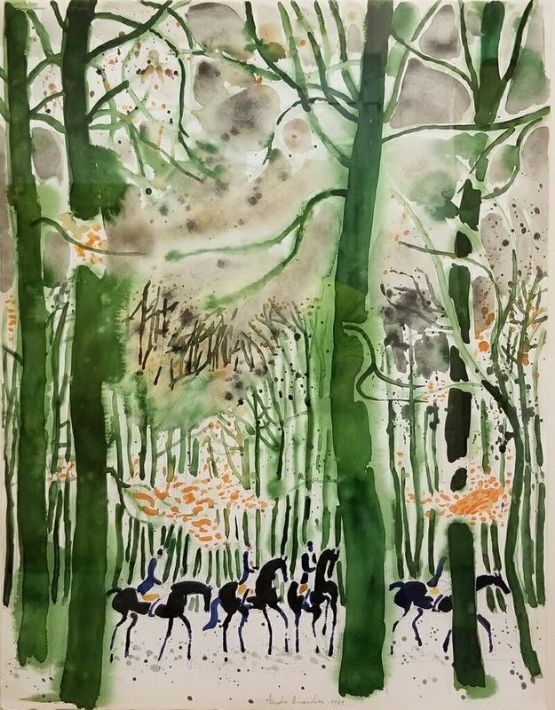 André BRASILIER - Painting - Cavaliers en hinver