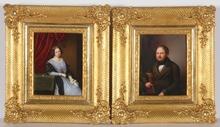 "Otto WÜSTLICH - Miniatura - ""Two Portraits of a Married Couple"", 1846, KPM"