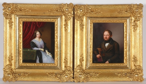 "Otto WÜSTLICH - Miniature - ""Two Portraits of a Married Couple"", 1846, KPM"