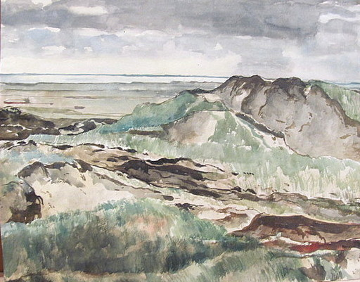 Paul MECHLEN - Drawing-Watercolor - Sylt: Dünen am Meer.