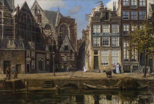 Hendrik Willebrord JANSEN - Painting - Het Oudekerkspein Amsterdam