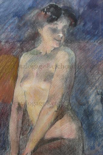 Ulpiano CHECA Y SANZ - Dibujo Acuarela - Femme nue au chat - Gato y desnudo