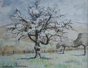Paul Émile PISSARRO - Pintura - Trees in Blossom