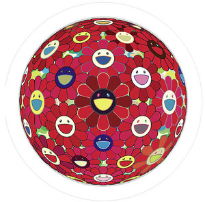 Takashi MURAKAMI, Red Flower Ball (3-D)