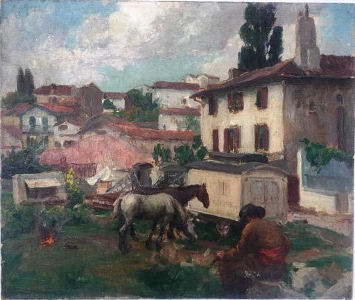 Alfred Victor FOURNIER - Painting - campement de bohemien à Jean de Luz