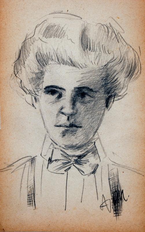 Adolph VON MENZEL - Zeichnung Aquarell - Untitled (Portrait of a Woman)