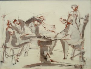 """Mauro CORDA - Drawing-Watercolor - """"LA TABLEE DES FEMMES"""""""