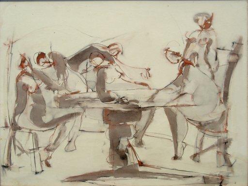 "Mauro CORDA - 水彩作品 - ""LA TABLEE DES FEMMES"""